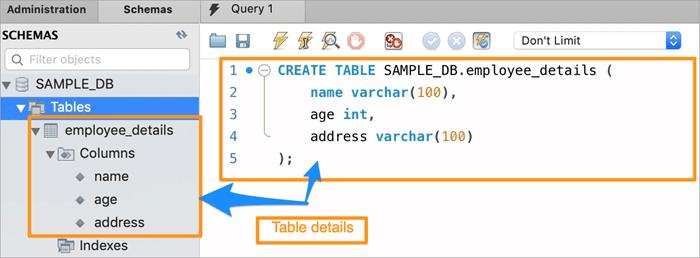 Output - Table Creation