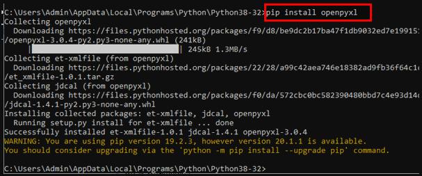 pip install openpyxl