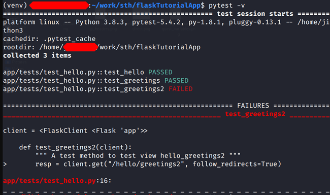 Failure in pytest