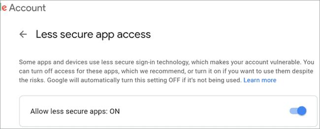 Google less secure Access