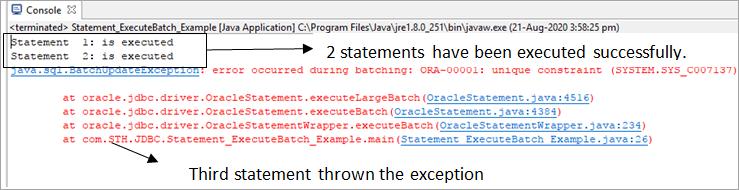 BatchUpdateException java progm