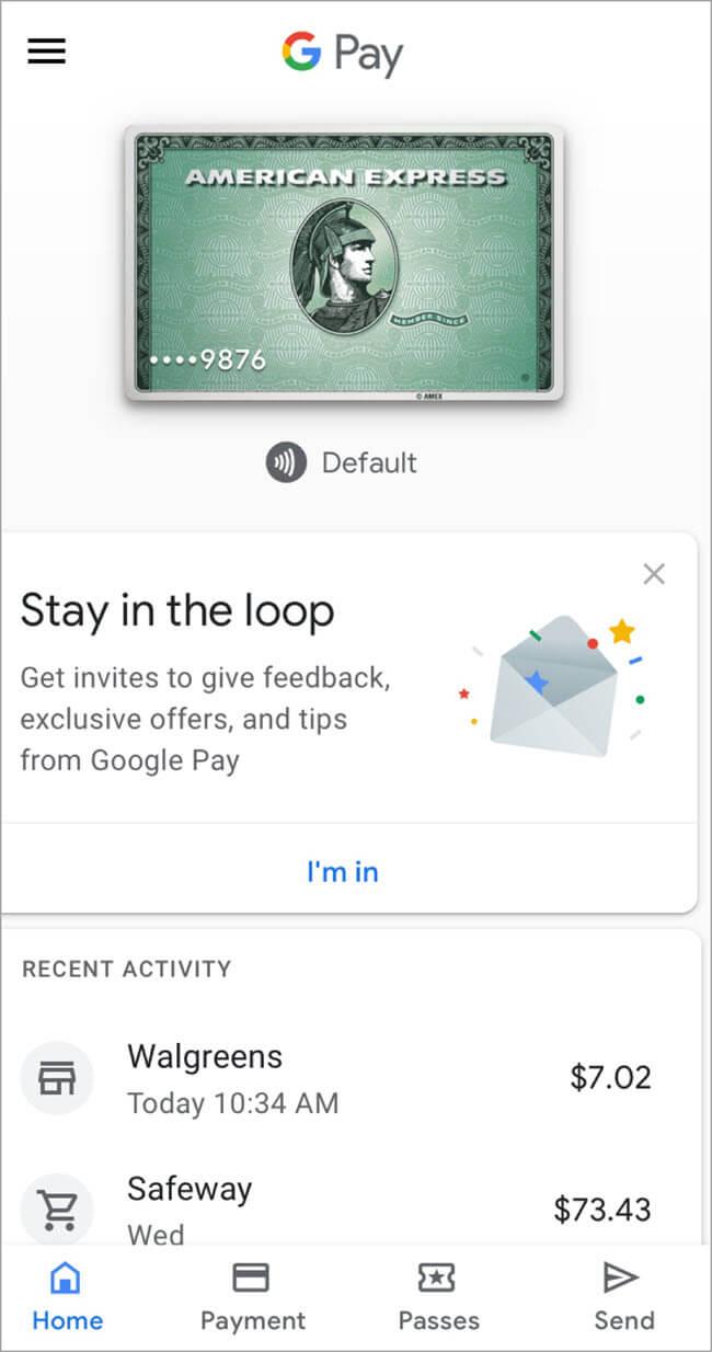 Google Pay - Dashboard