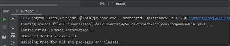 JavaDoc output window
