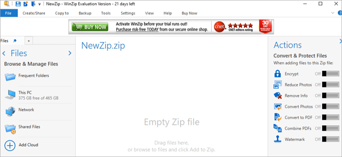 Open WINZIP on your system