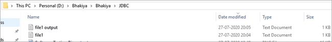 clob output file saved