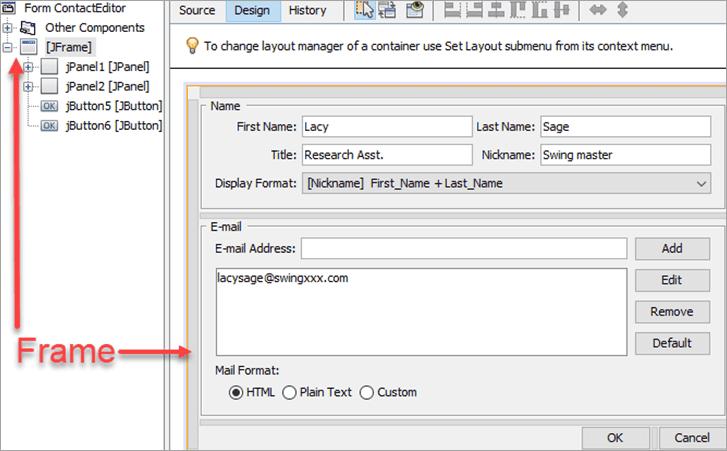 frame window in the GUI editor
