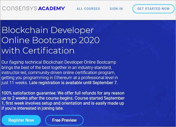Blockchain Developer Online Bootcamp 2020 by Consensys