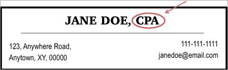 Certified Public Accountant Jane Doe's certification