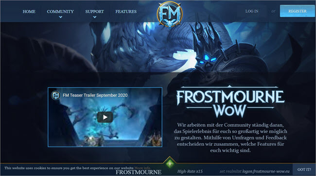 Frostmourn WoW Website