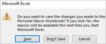 Personal Macro workbook