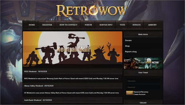 Retro WoW Website
