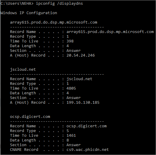 Windows dispaly dns cache
