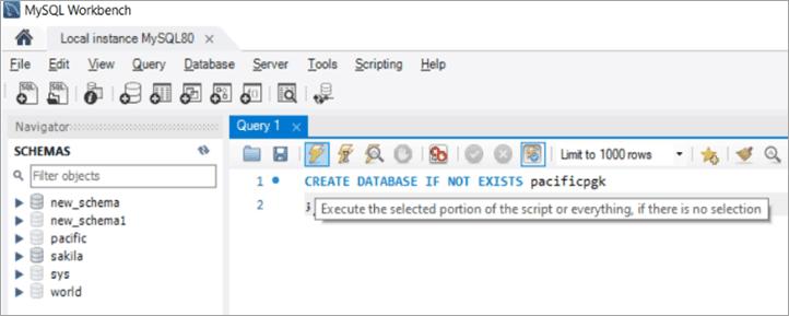 1. Create Database