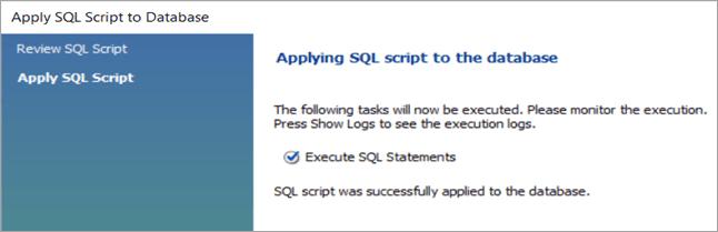 9Completion of MySQL Database create