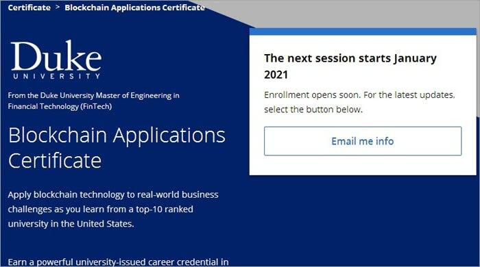 Blockchain Applications MasterTrack Certificate