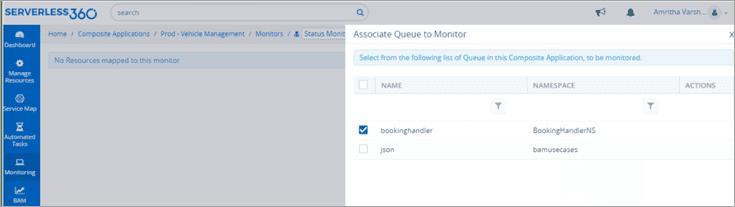 associate queue to monitor