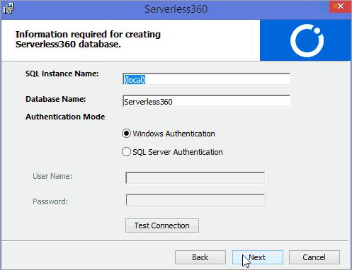 Creating Serverless360 database