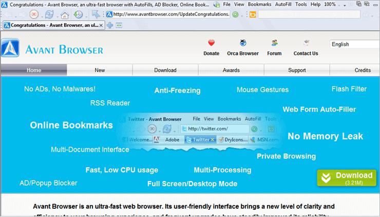 avant browser dashboard