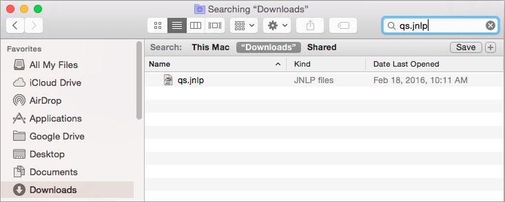 Select the JNLP file