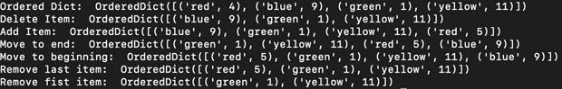 OrderedDict - output