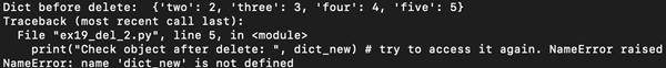 delete dict object