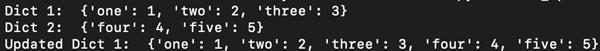 d.update(b) - output
