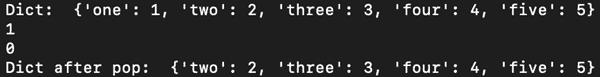 d.pop(k[, default]) - output