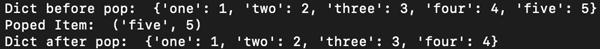 d.popitem() - output