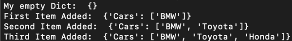 empty dict with key cars