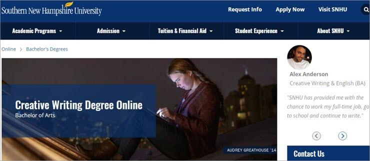 Online Creative Writing Degree: South New Hampshire University