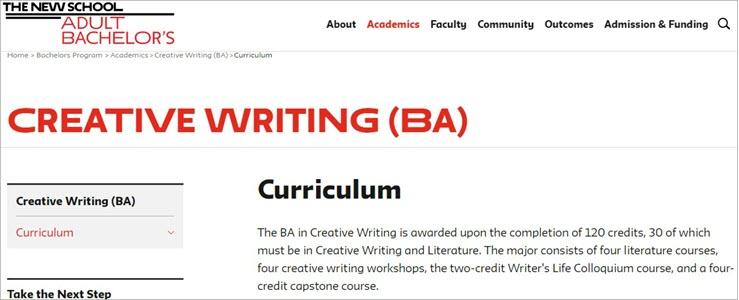Creative Writing Major- The New School