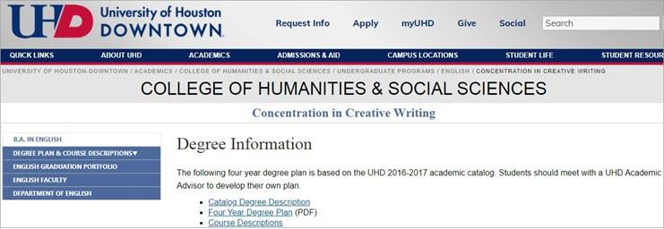 Creative Writing Degree: University of Houston Downtown