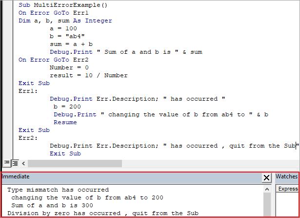 Multiple Error handler