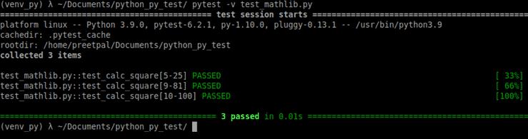 use py.test -v