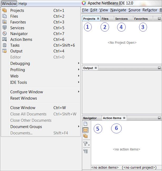 Activate various windows using Windows menus