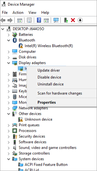 update driver - Properties