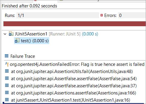 static void assertFalse (boolean condition, String message)