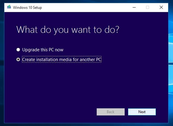 Create Installation media - Windows 10 to SSD