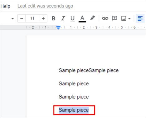 Select the phrase - How To Strikethrough On Google Docs