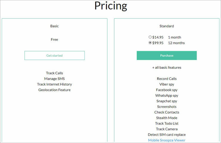 Snoopza Pricing - Cell Phone Tracker