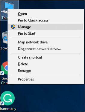 Right-click on the ''Computer'' icon