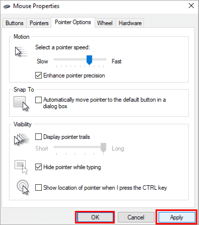 Select Pointer Speed