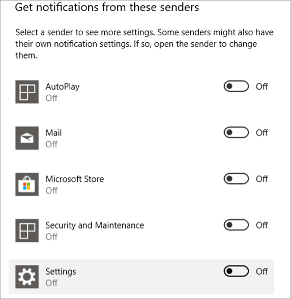 Notification from these senders Option