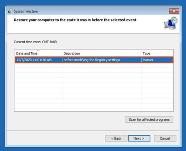 Select the Restore point - Critical Process Died Windows 10 Error