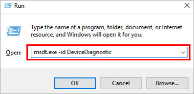 """type """"msdt.exe -id DeviceDiagnostic"""""""