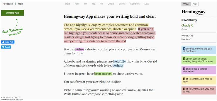 hemingway - Grammar Checker
