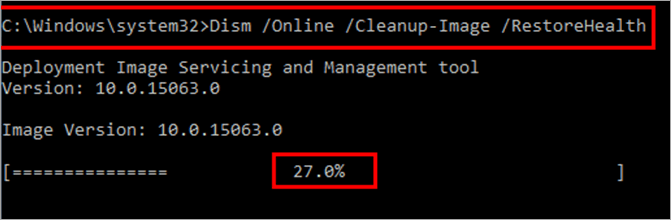 """Type """"Dism /Online /Cleanup-Image /RestoreHealth"""" - Critical Process Died Windows 10 Error"""