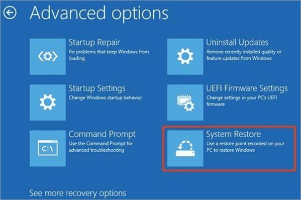 System Restore option - Critical Process Died Windows 10 Error