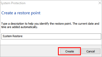 Enter the name for the restore point