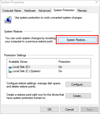 """click on """"System Restore"""""""